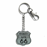 New Vintage Double Faces US Route 66 Heavy Metal Pendant Charm Key Ring Key Chain