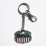 Vintage Western US Flag Eagle Pride Metal Charm Pendant Key Ring Key Chain