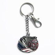 New Vintage Hero Fire Fireman Firefighter Metal Charm Pendant Key Ring Key Chain