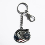 Vintage Hero Coast Guard Metal Charm Pendant Key Ring Key Chain