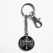New Vintage Black Enamel Celtic Cross Knot Metal Charm Pendant Key Ring Key Chain