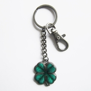 New Vintage Irish Lucky Four Marple Leaf Metal Pendant Charm Key Ring Key Chain