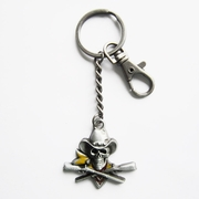 New Vintage Pirate Skull Western Cowboy Metal Charm Pendant Key Ring Key Chain