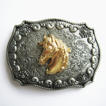 JEAN'S FRIEND New Original Western Cowboy Rodeo Horse Head Double Color Belt Buckle Gurtelschnalle Boucle de ceinture