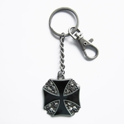 Vintage Enamel Skulls Iron Cross Metal Charm Pendant Key Ring Key Chain