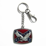 Vintage Western Fly Eagle Flag Metal Charm Pendant Key Ring Key Chain