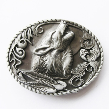 New Vintage Classic Western Wolf Head Oval Belt Buckle