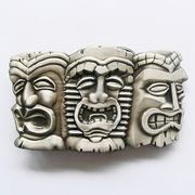 New Vintage Three Tribal Tiki Tikki Masks Hiawaii Belt Buckle Gurtelschnalle Boucle de ceinture