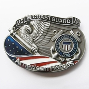 New Vintage American Hero Coast Guard Enamel Oval Belt Buckle Gurtelschnalle Boucle de ceinture