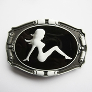 New Vintage Truck Mud Flap Girl Enamel Belt Buckle Gurtelschnalle