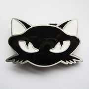 New Vintage Black Enamel Cat Animal Belt Buckle