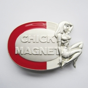 New Heavy Metal Chick Magnet Girl Enamel Oval Belt Buckle