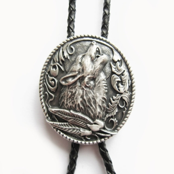 New Vintage Silver Plating Western Wolf Wedding Oval Bolo Tie Leather Necklace