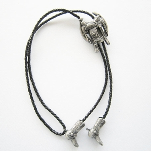 New Jeansfriend Vintage Silver Plated Western Saddle Horseshoe Cowboy Boots Bolo Tie Leather Necklace