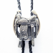 New 2016 Jeansfriend Vintage Silver Plated Western Saddle Horseshoe Cowboy Boots Bolo Tie Leather Necklace