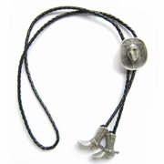 New Vintage Silver Plated Western Cowboy Boots Cap Wedding Bolo Tie Leather Necklace BOLOTIE-007SL