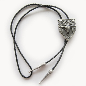 Vintage Silver Plating Western Rodeo Bull Bolo Tie Leather Necklace