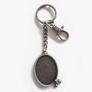 Vintage Silver Plated Western Rope Oval Blank Charm Key Ring Key Chain