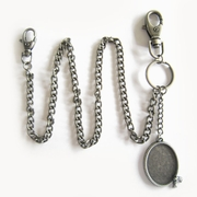 Silver Plate Western Rope Oval Blank Charm Jeans Wallet Key Chain