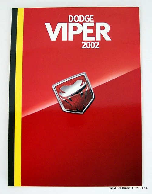 2002 Dodge Viper RT/10 & GTS Dealer Sales Brochure