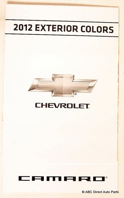 2012 Chevrolet Camaro Factory Paint Chip Guide Chart