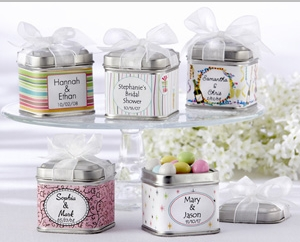 """Unexpected Treasures!"" Favor Tin with Pre-Tied Organza Bow (Set of 12) "" title=""""Unexpected Treasures!"" Favor Tin with Pre-Tied Organza Bow (Set of 12)"