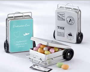 """""""Miles of Memories"""" Suitcase Favor Tins with Optional Personalized Labels(Set of 12) """" title=""""""""Miles of Memories"""" Suitcase Favor Tins with Optional Personalized Labels(Set of 12)"""
