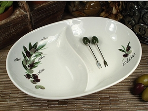 2 Section Olive Design Dish & Forks Wedding Favor