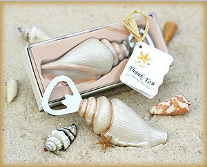 """Shore Memories"" Sea Shell Bottle Opener with Thank you Tag "" title=""""Shore Memories"" Sea Shell Bottle Opener with Thank you Tag"