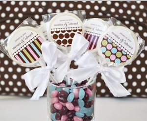 """""""Something Sweet"""" Dots and Stripes Personalized Lollipop Favors"""" title=""""""""Something Sweet"""" Dots and Stripes Personalized Lollipop Favors"""
