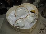 Ivory Espresso Cup and Saucer Set in Heart Box