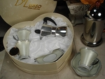 D'Lusso Espresso Cups with Coffee Pot in Heart Box
