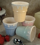 Set of 4 Cone Ceramic Ice Cream Cups - Assorted Colors - Out of Stock 'til 7/1
