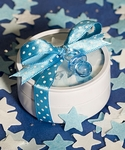 Round Tins Filled with Blue & White Bath Confetti