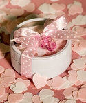 Round Tins Filled with Pink & White Bath Confetti