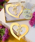 Gold Heart and Cross Design Bookmark Favors