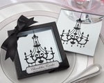 """Chandelier"" Mirrored Glass Coasters Favors"