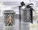 �Damask Traditions� Frosted Glass Tea Light Holder with Kate Aspen Signature Charm (Set of 4)