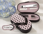"""Pink Polka Flip Flop"" Four Piece Pedicure Set with Matching ""Thank you"" Tag"