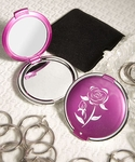 Chic Pink Compact Mirror Favors with Flower Design