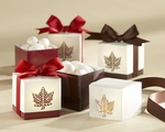 """Autumn Elegance"" Laser-Cut Fall Leaf Favor Box (Set of 24)"