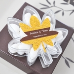 """Fall for Love"" Leaf Acrylic Favor Boxes"