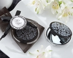 """Reflections"" Elegant Black-and-White Mirror Compact"