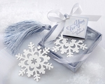"""""""Snowflake"""" Bookmark with Silver Finish and Elegant Ice-Blue Tassel"""