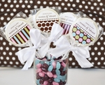 """Something Sweet"" Dots and Stripes Personalized Lollipop Favors"
