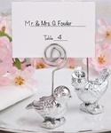 Lovebirds Silver Place Card Holder Favors