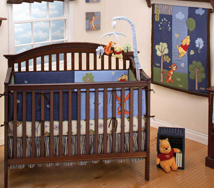 Pooh Up and Away 4 Piece Baby Crib Bedding Set