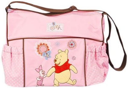 Winnie the Pooh and Piglet Large Diaper Bag in Pink