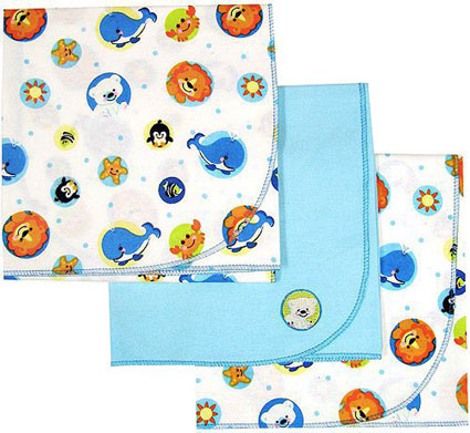 Fisher Price Precious Planet 3pk Flannel Receiving Blankets