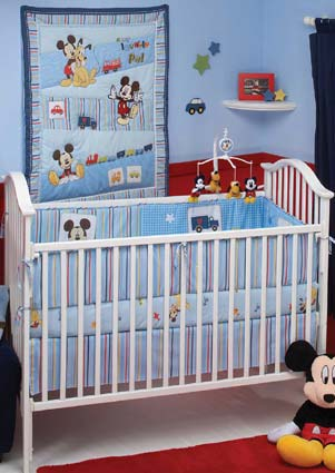 Mickey's Transportation 4 Piece Baby Crib Bedding Set